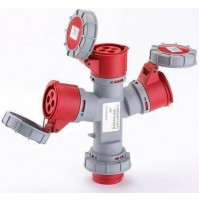 Adattatore Industriale 1 Spina + 3 Prese Ip 67 Rossa Maurer