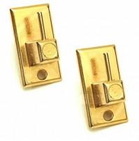 CF 12 BLISTER Ganci Per Bris Bris Rettangolari In Acciaio Oro