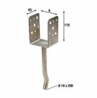 Conf. Da 2 pezzi Di Supporto Per Pilastri In Acciaio Inox A Pavimento