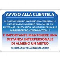 CARTELLO 'AVVISO ALLA CLIENTELA' cm 20 x 30 - alluminio