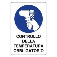 CARTELLO 'CONTROLLO DELLA TEMPERATURA' cm 20 x 30 - alluminio