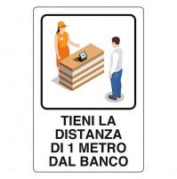 CARTELLO 'TIENI DISTANZA 1 METRO' cm 20 x 30 - alluminio